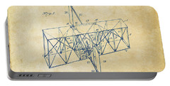 Portable Battery Charger featuring the drawing 1914 Wright Brothers Flying Machine Patent Vintage by Nikki Marie Smith