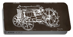 Portable Battery Charger featuring the drawing 1919 Henry Ford Tractor Patent Espresso by Nikki Marie Smith