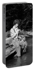 1920s 1930s Woman Sitting On Rock Portable Battery Charger