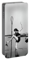 1920s Woman Crabbing Surprised By Crab Portable Battery Charger
