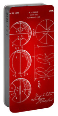 1929 Basketball Patent Artwork - Red Portable Battery Charger by Nikki Marie Smith
