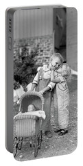 1930s Little Girl Kissing Boy Pushing Portable Battery Charger