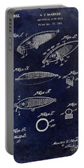 1932 Fishing Patent Drawing Blue Portable Battery Charger