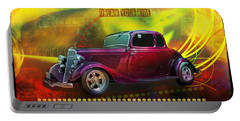 Portable Battery Charger featuring the digital art 1934 Ford 5 Window Gennie by Richard Farrington