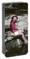 1940s 1950s Smiling Woman Fly Fishing Portable Battery Charger