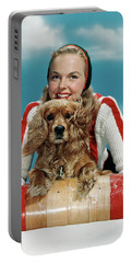 1940s 1950s Smiling Woman On Wooden Portable Battery Charger