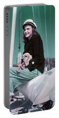 1940s 1950s Smiling Woman Wearing Portable Battery Charger