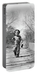 1940s Boy Walking Down Country Road Portable Battery Charger