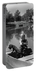 1940s Boy With A Black Cocker Spaniel Portable Battery Charger