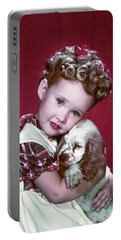 1940s Portrait Girl Wearing Plaid Dress Portable Battery Charger