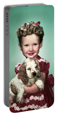 1940s Portrait Smiling Girl Wearing Red Portable Battery Charger