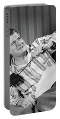 1940s Sleepless Man Sitting In Bed Portable Battery Charger