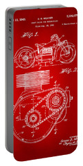 1941 Indian Motorcycle Patent Artwork - Red Portable Battery Charger by Nikki Marie Smith