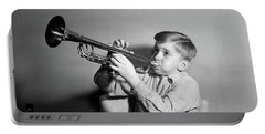 1950s Boy Playing Trumpet Horn Portable Battery Charger