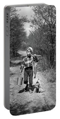 1950s Boy With Beagle Puppy Walking Portable Battery Charger