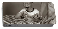 1950s Excited Boy At Table Portable Battery Charger