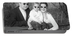 1950s Family Portrait With Sunglasses Portable Battery Charger