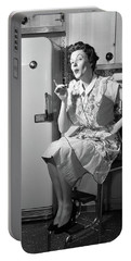 1950s Housewife Sitting On Stool Portable Battery Charger