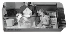 1950s Mother & Daughter Baking A Cake Portable Battery Charger