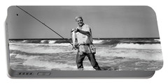 1950s Older Man Standing In Surf Portable Battery Charger