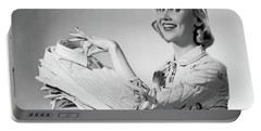 1950s Proud Smiling Woman Housewife Portable Battery Charger
