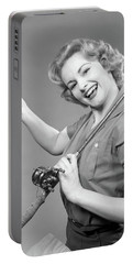 1950s Smiling Woman With A Fishing Rod Portable Battery Charger