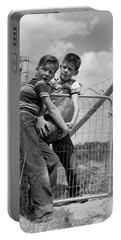 1950s Two Farm Boys In Striped T-shirts Portable Battery Charger