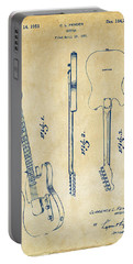 1951 Fender Electric Guitar Patent Artwork - Vintage Portable Battery Charger by Nikki Marie Smith