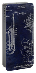 1951 Saxophone Patent Drawing Blue Portable Battery Charger