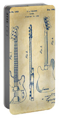 1953 Fender Bass Guitar Patent Artwork - Vintage Portable Battery Charger by Nikki Marie Smith