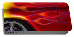 1955 Chevy Pickup With Flames Portable Battery Charger by Garry Gay