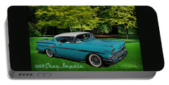 Portable Battery Charger featuring the digital art 1958 Chev Impala by Richard Farrington