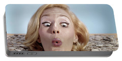 1960s Blond Woman Funny Facial Portable Battery Charger