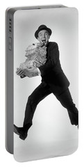 1960s Excited Enthusiastic Man Jumping Portable Battery Charger
