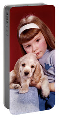 1960s Portrait Serious Little Girl Portable Battery Charger