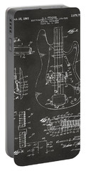 1961 Fender Guitar Patent Artwork - Gray Portable Battery Charger by Nikki Marie Smith