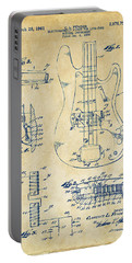 Portable Battery Charger featuring the digital art 1961 Fender Guitar Patent Artwork - Vintage by Nikki Marie Smith
