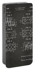 1961 Lego Brick Patent Art - Gray Portable Battery Charger