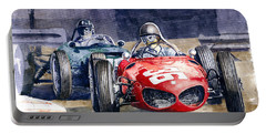1961 Monaco Gp #36 Ferrari 156 Ginther  #18 Brm Climax P48 G Hill Portable Battery Charger
