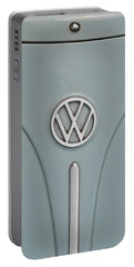 Portable Battery Charger featuring the photograph 1965 Volkswagen Beetle Hood Emblem by Jani Freimann