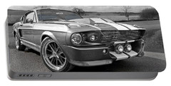 1967 Eleanor Mustang In Black And White Portable Battery Charger
