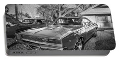 1968 Dodge Charger The Bullit Car Bw Portable Battery Charger