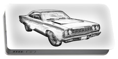 1968 Plymouth Roadrunner Muscle Car Illustration Portable Battery Charger