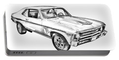1969 Chevrolet Nova Yenko 427 Muscle Car Illustration Portable Battery Charger