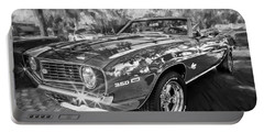 1969 Chevy Camaro Ss Painted Bw  Portable Battery Charger