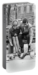 1970s Couple On Park Bench Leaning Portable Battery Charger