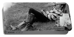 1970s Man Sleeping Against A Tree Trunk Portable Battery Charger