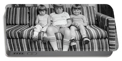 1970s Three Siblings Sitting On Couch Portable Battery Charger
