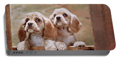 1970s Two Cocker Spaniel Puppies Portable Battery Charger