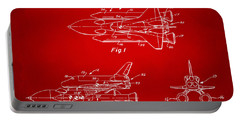 1975 Space Shuttle Patent - Red Portable Battery Charger by Nikki Marie Smith